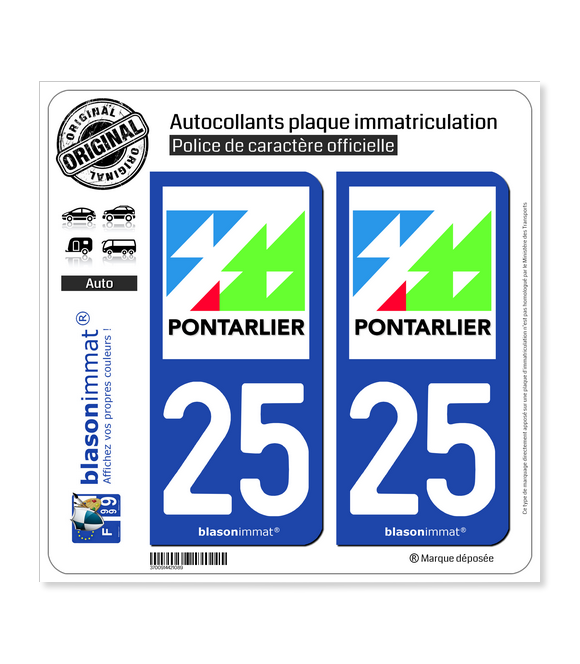 25 Pontarlier - Ville | Autocollant plaque immatriculation