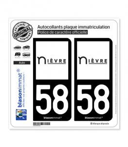 58 Nièvre - Département | Autocollant plaque immatriculation