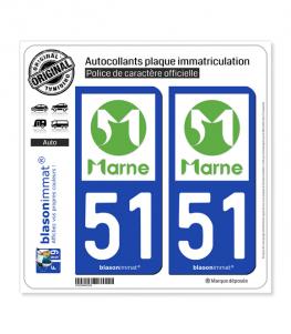 51 Marne - Département | Autocollant plaque immatriculation