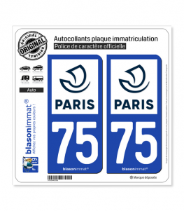 75 Paris - Ville | Autocollant plaque immatriculation