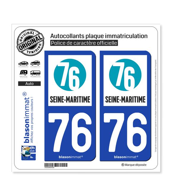 76 Seine-Maritime - Département   Autocollant plaque immatriculation