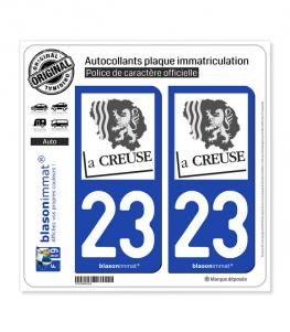 23 Creuse - Département | Autocollant plaque immatriculation