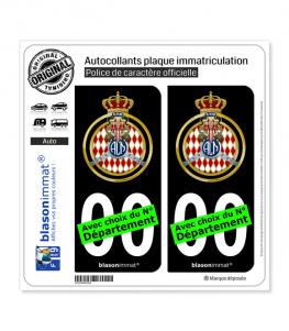 Automobile Club de Monaco - Blason | Autocollant plaque immatriculation (Fond Noir)