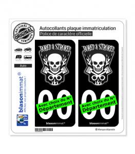 Bored & Stroked   Autocollant plaque immatriculation (Fond Noir)