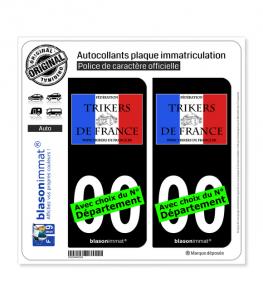 Fédération Trickers de France | Autocollant plaque immatriculation (Fond Noir)