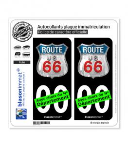 US Route 66 | Autocollant plaque immatriculation (Fond Noir)