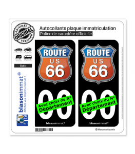 US Route 66 - Couleurs | Autocollant plaque immatriculation (Fond Noir)