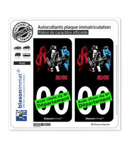 AC-DC | Autocollant plaque immatriculation (Fond Noir)