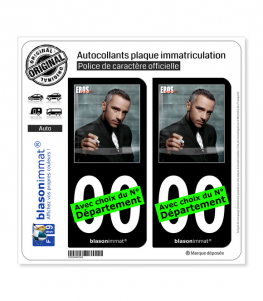 Eros Ramazzotti | Autocollant plaque immatriculation (Fond Noir)