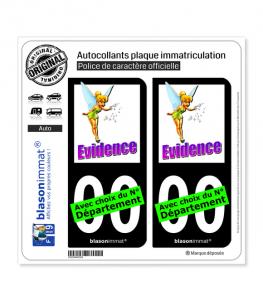Fée Clochette - Évidence | Autocollant plaque immatriculation (Fond Noir)
