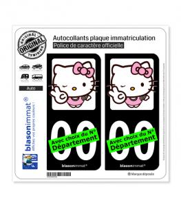 Hello Kitty | Autocollant plaque immatriculation (Fond Noir)