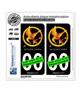 Hunger Games - Geai Moqueur | Autocollant plaque immatriculation (Fond Noir)