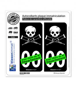 Jackass | Autocollant plaque immatriculation (Fond Noir)