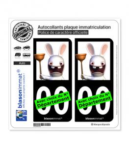 Lapins Crétins - Plombier | Autocollant plaque immatriculation (Fond Noir)