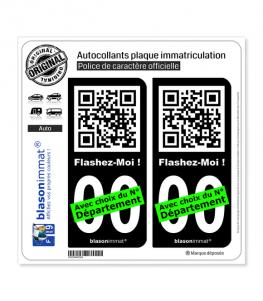 FlashCode - Flashez-Moi | Autocollant plaque immatriculation (Fond Noir)