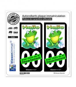 Grenouille - Hello   Autocollant plaque immatriculation (Fond Noir)
