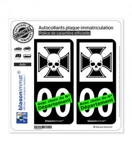 Iron Cross Skull | Autocollant plaque immatriculation (Fond Noir)