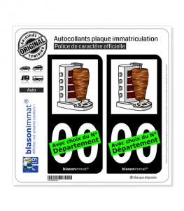 Kebab - Broche | Autocollant plaque immatriculation (Fond Noir)