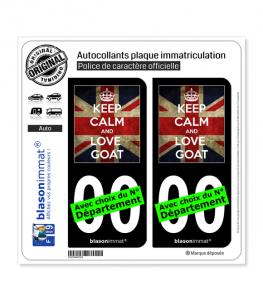 Keep Calm and Love Goat | Autocollant plaque immatriculation (Fond Noir)