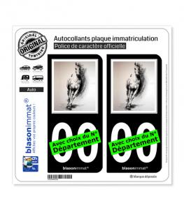 L'Art du Cheval | Autocollant plaque immatriculation (Fond Noir)