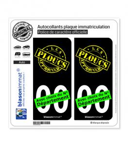 Les Ploucs - Approuved | Autocollant plaque immatriculation (Fond Noir)