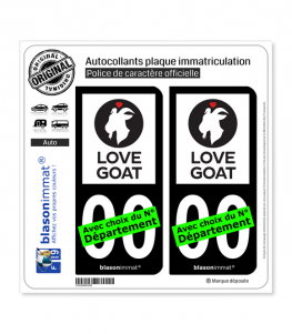 Love Goat | Autocollant plaque immatriculation (Fond Noir)