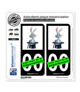 Magie - Chapeau Lapin | Autocollant plaque immatriculation (Fond Noir)