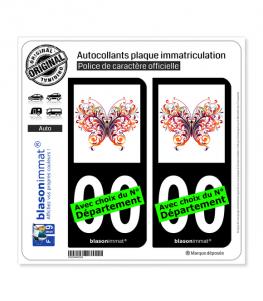 Papillon MultiColor | Autocollant plaque immatriculation (Fond Noir)