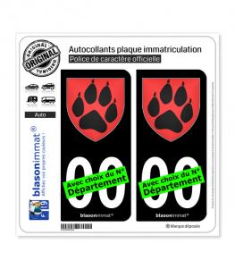 Patte de Loup - Blason | Autocollant plaque immatriculation (Fond Noir)