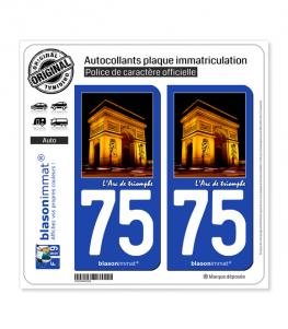 75 Arc de triomphe - Paris | Autocollant plaque immatriculation
