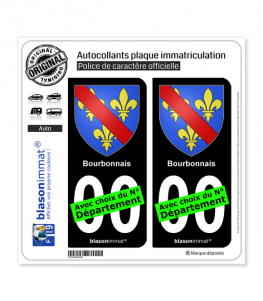 Bourbonnais - Armoiries | Autocollant plaque immatriculation (Fond Noir)