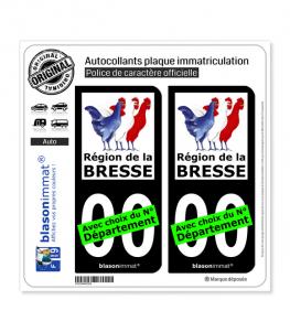 Pays de la Bresse - Région | Autocollant plaque immatriculation (Fond Noir)