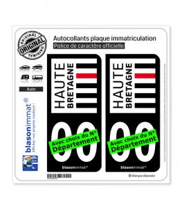 Haute-Bretagne | Autocollant plaque immatriculation (Fond Noir)