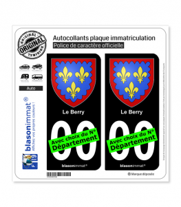 Berry - Armoiries | Autocollant plaque immatriculation (Fond Noir)