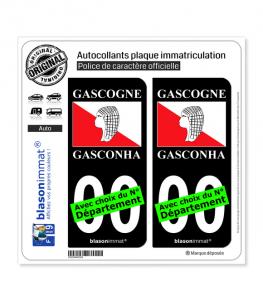 Gascogne - Drapeau | Autocollant plaque immatriculation (Fond Noir)