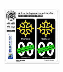 Occitanie - Croix | Autocollant plaque immatriculation (Fond Noir)