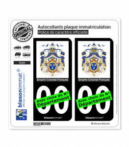 Ancienne Colonie Française - Armoiries | Autocollant plaque immatriculation (Fond Noir)
