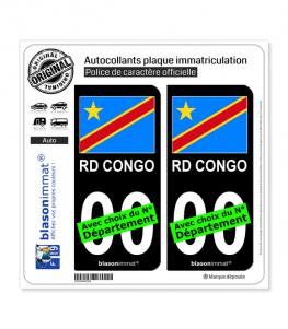 RD Congo - Drapeau | Autocollant plaque immatriculation (Fond Noir)