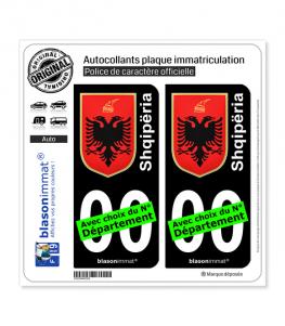 Albanie - Armoiries   Autocollant plaque immatriculation (Fond Noir)