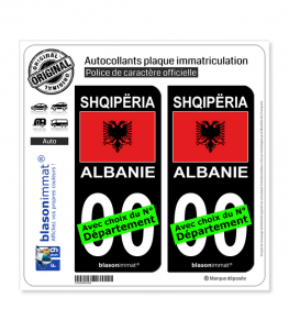 Albanie - Drapeau | Autocollant plaque immatriculation (Fond Noir)