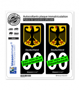 Allemagne - Armoiries | Autocollant plaque immatriculation (Fond Noir)