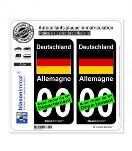Allemagne - Drapeau | Autocollant plaque immatriculation (Fond Noir)