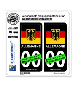 Allemagne - Armoiries Drapées | Autocollant plaque immatriculation (Fond Noir)