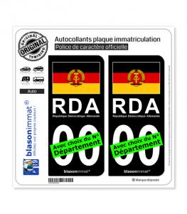 Allemagne - Drapeau RDA   Autocollant plaque immatriculation (Fond Noir)
