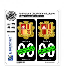 Andorre - Armoiries   Autocollant plaque immatriculation (Fond Noir)