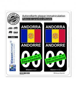Andorre - Drapeau   Autocollant plaque immatriculation (Fond Noir)