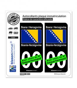 Bosnie-Herzégovine - Drapeau | Autocollant plaque immatriculation (Fond Noir)