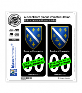 Bosnie-Herzégovine - Armoiries 1992-98   Autocollant plaque immatriculation (Fond Noir)