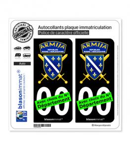 Bosnie-Herzégovine - Armija | Autocollant plaque immatriculation (Fond Noir)
