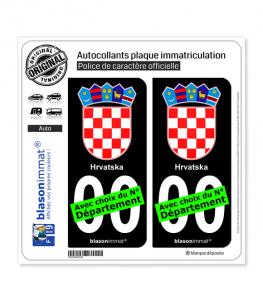 Croatie - Armoiries | Autocollant plaque immatriculation (Fond Noir)